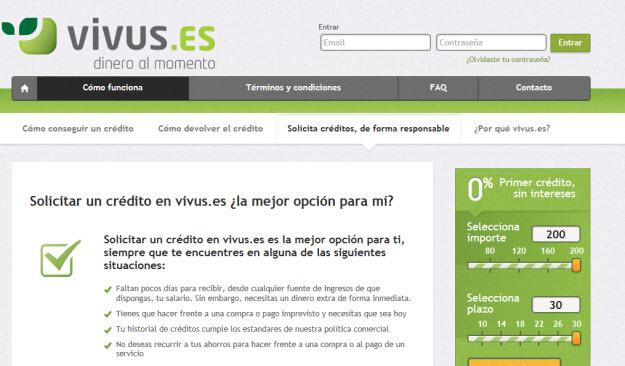 Solicitar créditos personales en Vivus