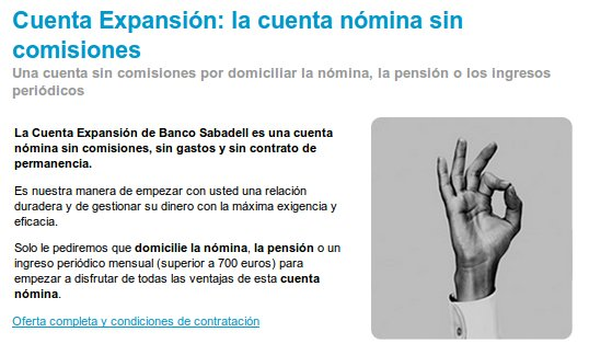 Cuenta Expansión Sabadell, no pagues comisiones