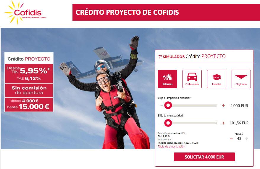 Cofidis simulador para Crédito Proyecto