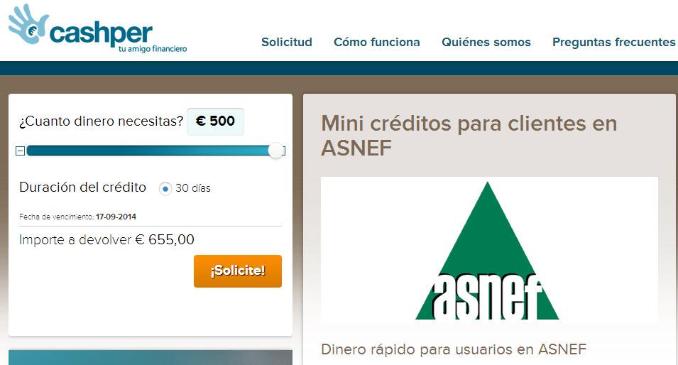 dinero urgente con ASNEF