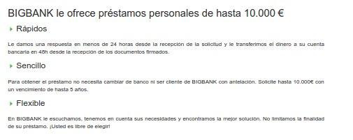 Big Bank condiciones 2015