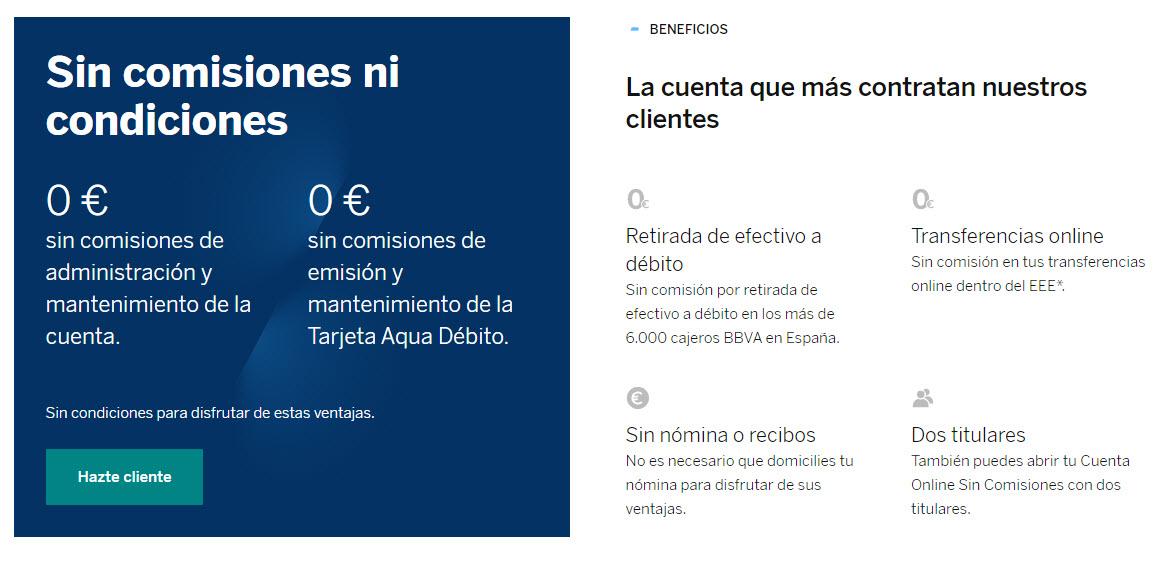 bbva cuenta online comisiones